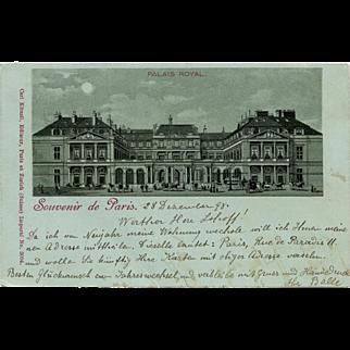 1898 Souvenir de Paris Postcard Palais Royal Illustration