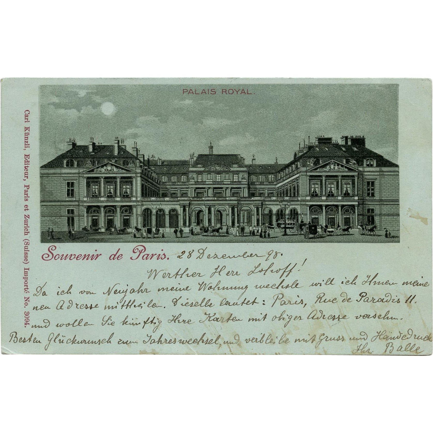 1898 Souvenir de Paris Postcard Palais Royal Illustration