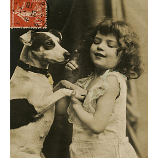 Antique Real Photo French Postcard of Girl Posing with Jack Russell Terrier