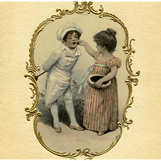 Art Nouveau Embossed Gold Framed Antique German Postcard of Girl and Young Chef
