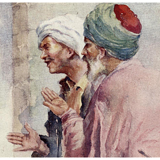 Turks in Constantinople 1913 Watercolor Art Postcard Unused