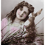 Handpainted Antique German Easter Postcard of Edwardian Girl with Pussy Willows and Rabbit