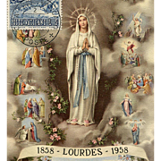 1958 Vatican Souvenir Postcard and Stamp Celebrating 100 Years of Lourdes, France, Miracle