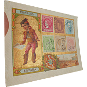 Gold Leaf Paris Printed Victorian Trade Card Spanish Stamps circa 1880