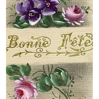 Handpainted Antique French Greeting Postcard Roses and Violets