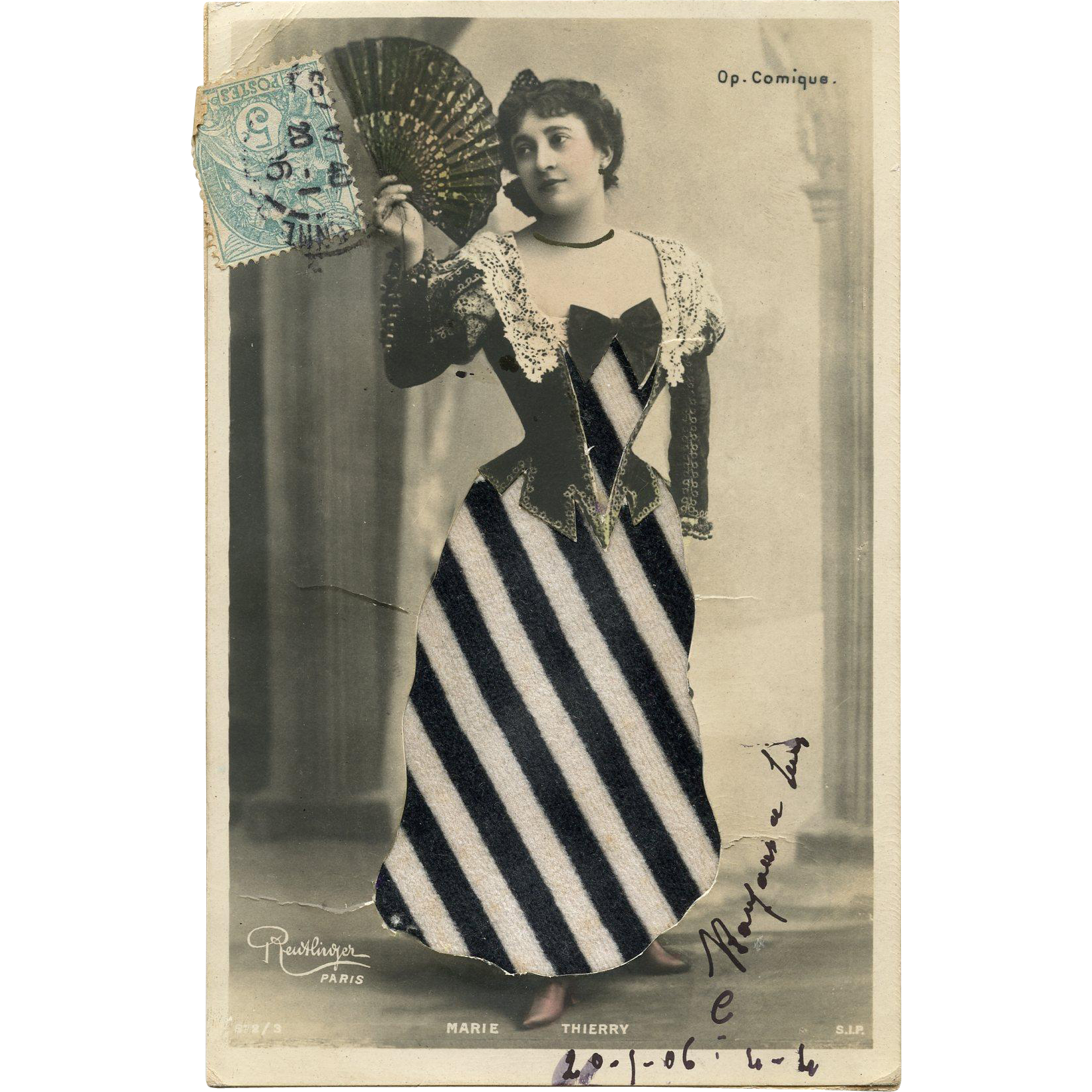 Fabric Clothing Collage Antique Novelty French Postcard Reutlinger Photo of Belle Epoque Star