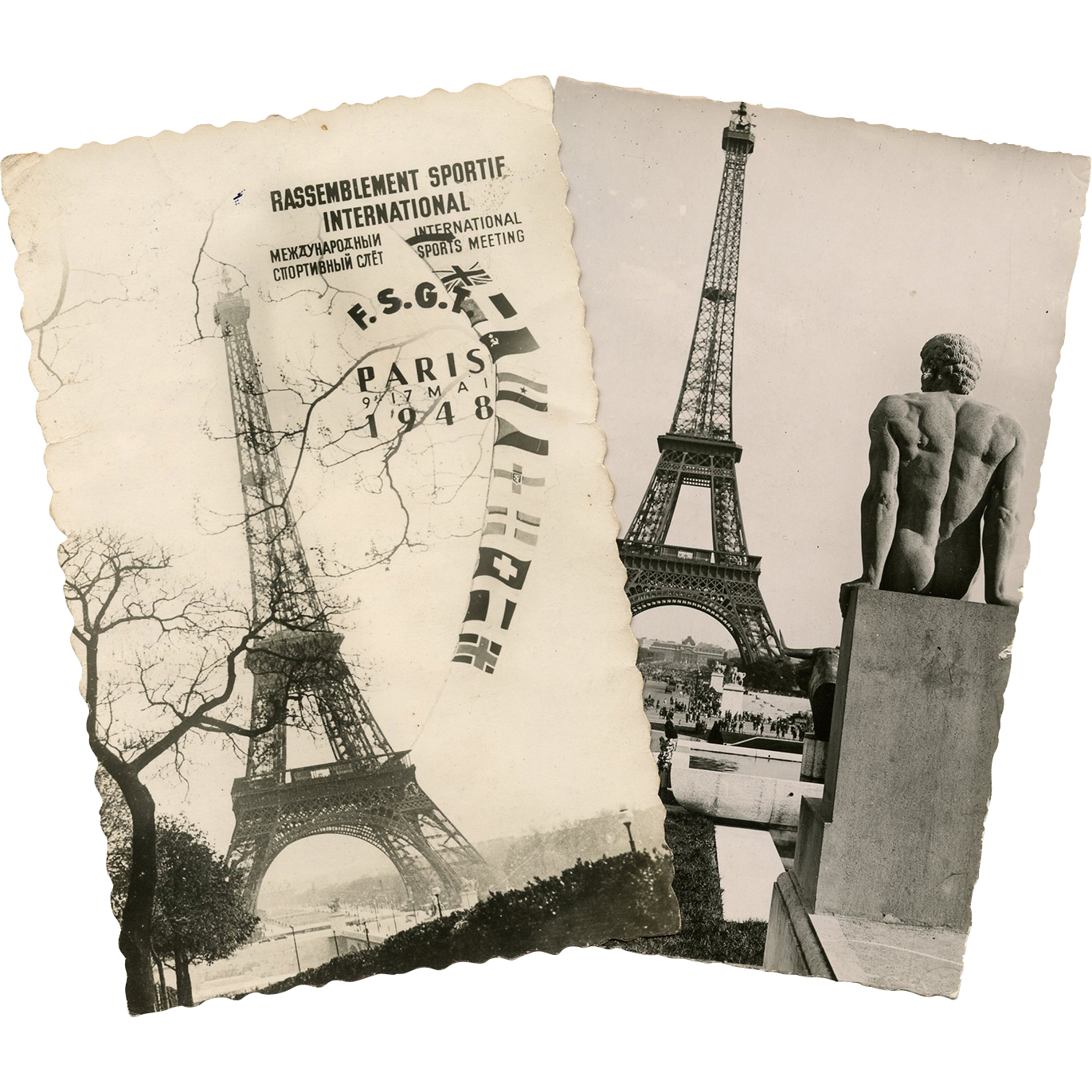 2 Vintage Eiffel Tower Postcards Historical 1948 Sports Event and Nude Statue
