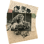 3 Antique Cats and Kittens French Postcards
