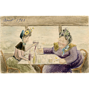 Original Watercolor Two Women Drinking Wine 1901 Postcard for Tuberculosis Patient