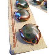 Vintage Iridescent Green and Copper Triple Tipped Swirl Glass Buttons from France