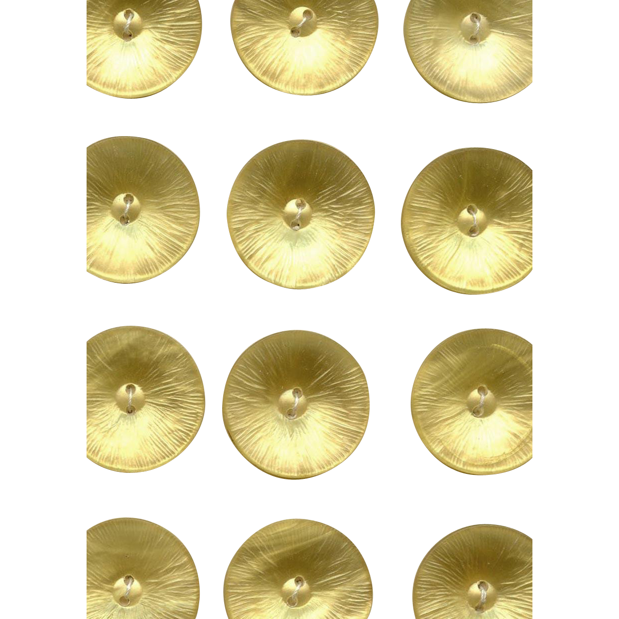 Placard of Soft Yellow Mother of Pearl Vintage Buttons from France