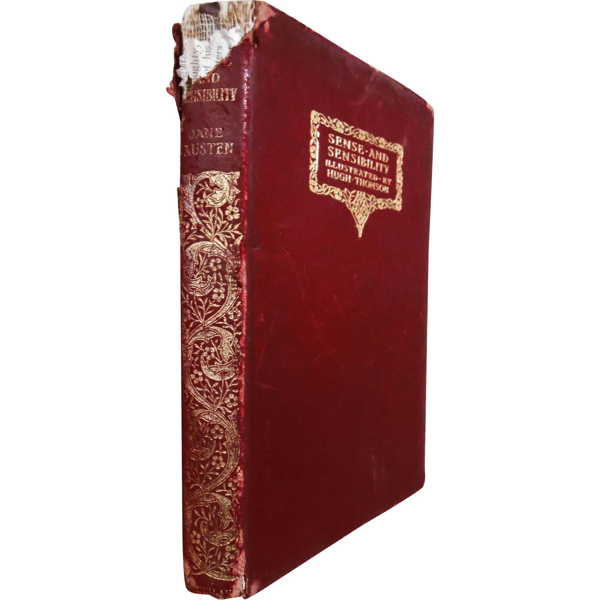 Jane Austen Sense and Sensibility 1912 Illustrated Leather Bound Gilt Title Spine