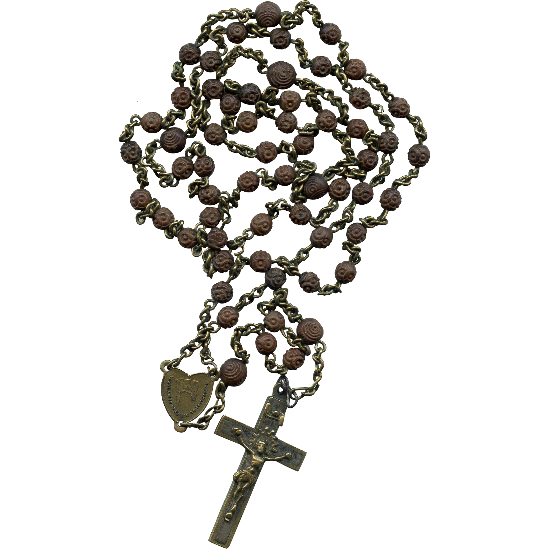 31-Inch Long French Rosary from Oldest Normandy Pilgrimage Site Carved Wooden Beads