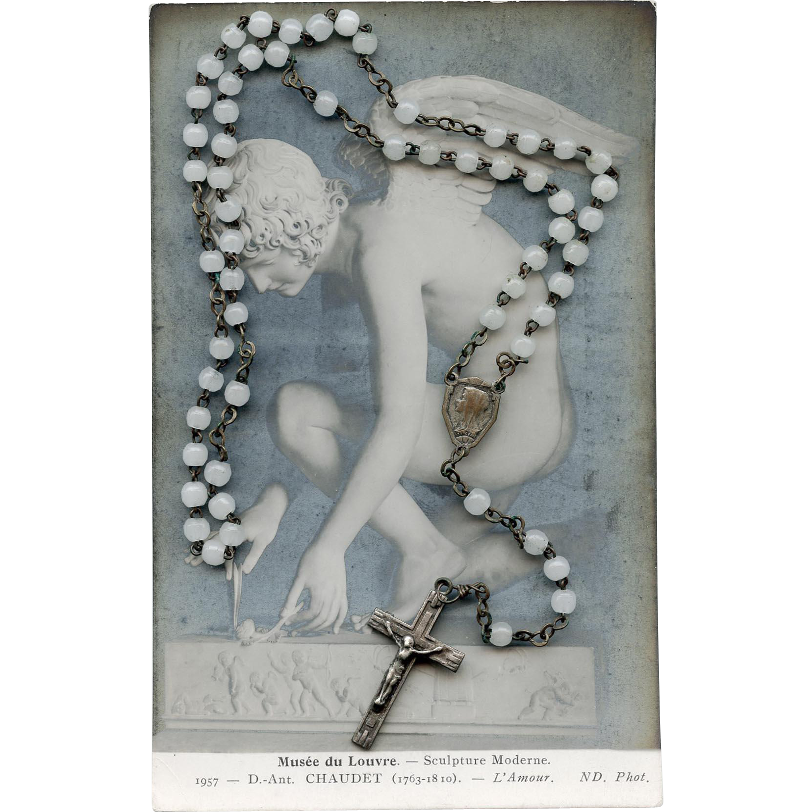 Vintage White Bead Rosary Made in France with Pouch