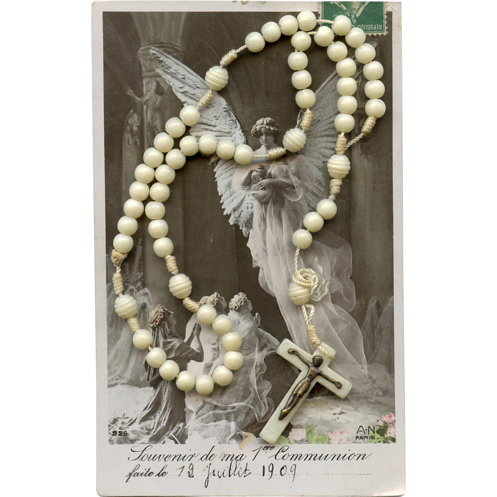 Vintage Off-White Cord Rosary from France