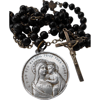 Vintage French Boxwood Beads Rosary with Medal Crucifix Souvenir of Montligeon Basilica, France