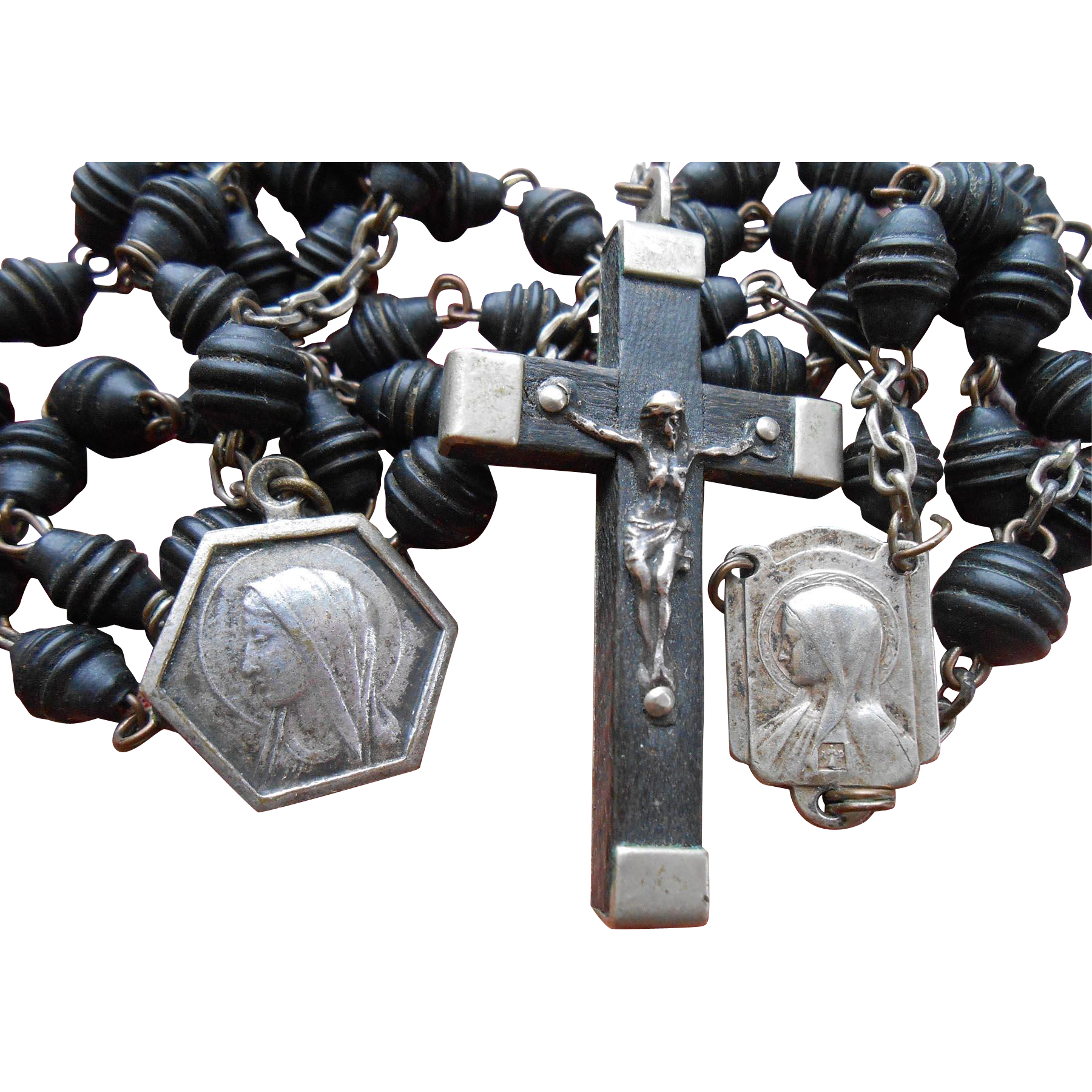 Vintage 56-Bead Rosary Souvenir from Lourdes, France, with Two Bernadette Medals