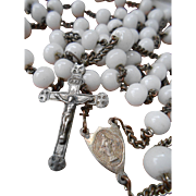 Vintage French Rosary: 5 Decade Milk White Glass Beads with Ave Marie Center Medal