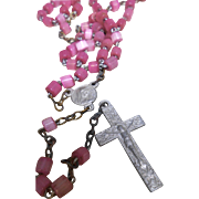 Vintage Lavender Pink Glass Beads Children's Rosary Aluminum Cross from France