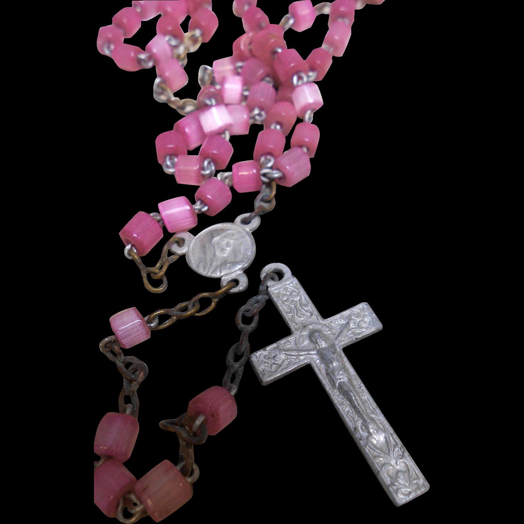 Vintage Lavender Pink Glass Beads Children's Rosary Aluminum Cross from France