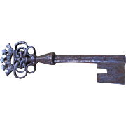 Antique French Barrel Key with Ornate Crown Design - Red Tag Sale Item
