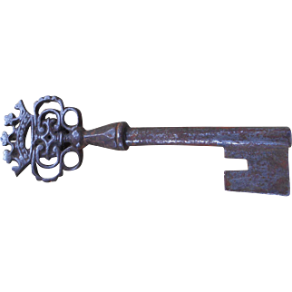 Antique French Barrel Key with Ornate Crown Design