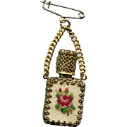Vintage Austrian Perfume Bottle Brooch with Rose Petit Point Encased in Gold Filigree