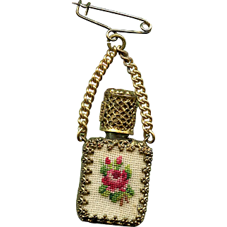Vintage Austrian Perfume Bottle Brooch with Rose Petit Point Encased in Gold Filigree