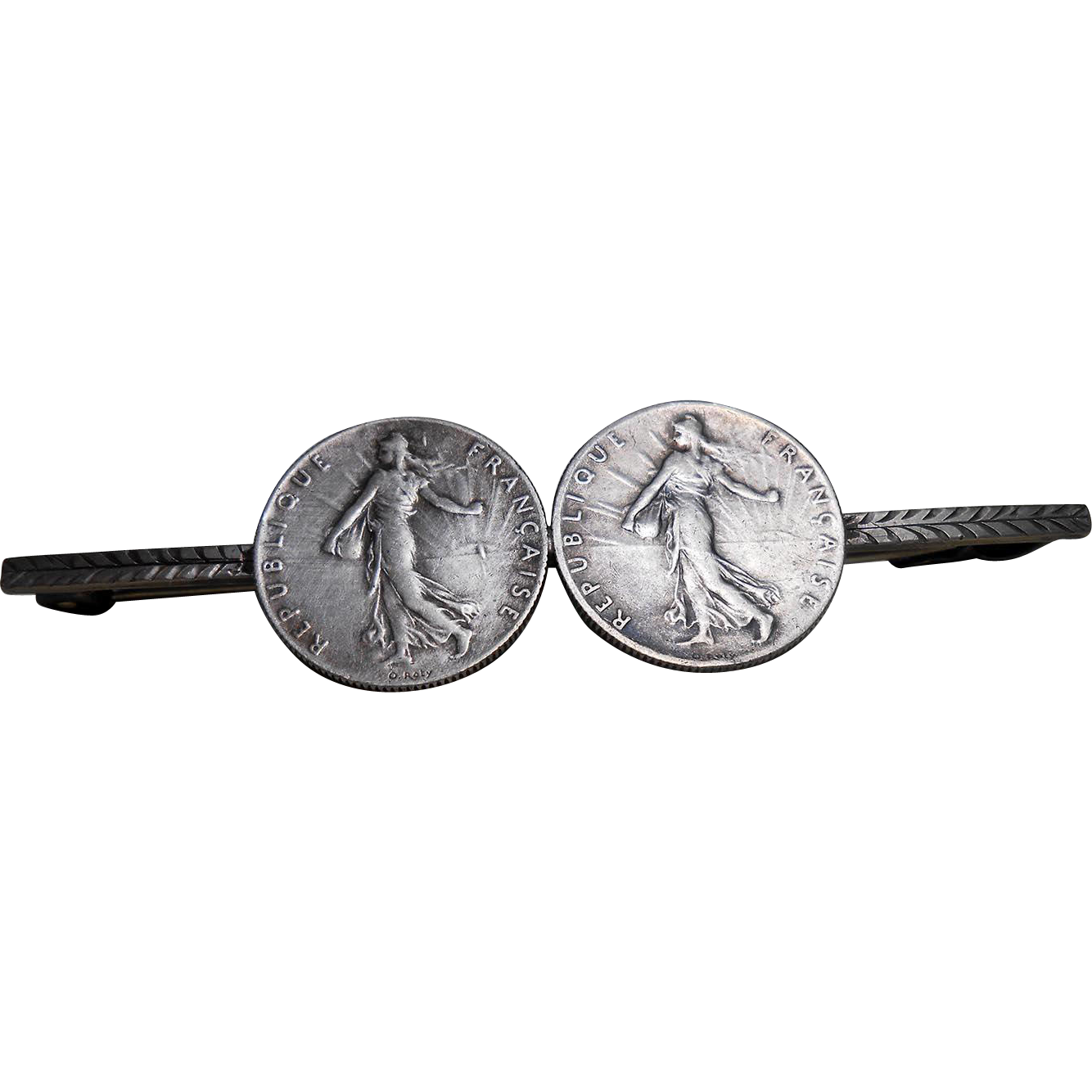 French Brooch Made from two 1918 and 1919 50-Centimes Silver Alloy Coins