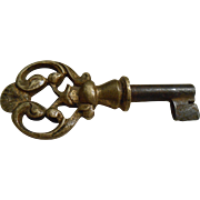 19th Century Petite Bronze French Key with Glitzy Handle - Red Tag Sale Item