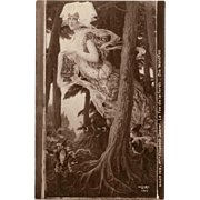 Medieval Forest Fairy and Gnomes Painted by Elisabeth Sonrel Rare Salon de 1912 Paris French Postcard