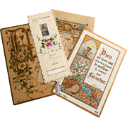 19th Century French Holy Cards with Gold Leaf, First Communion Souvenirs and Ribbon with Medal