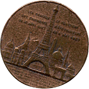 1889 Bronze Souvenir Medal Commemorates Ascension to Top of the Eiffel Tower