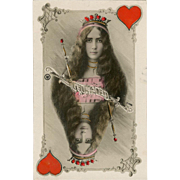 Belle Epoque Ballerina Cleo de Mode as Queen of Hearts Antique Unused French Postcard with Gilded Detailing