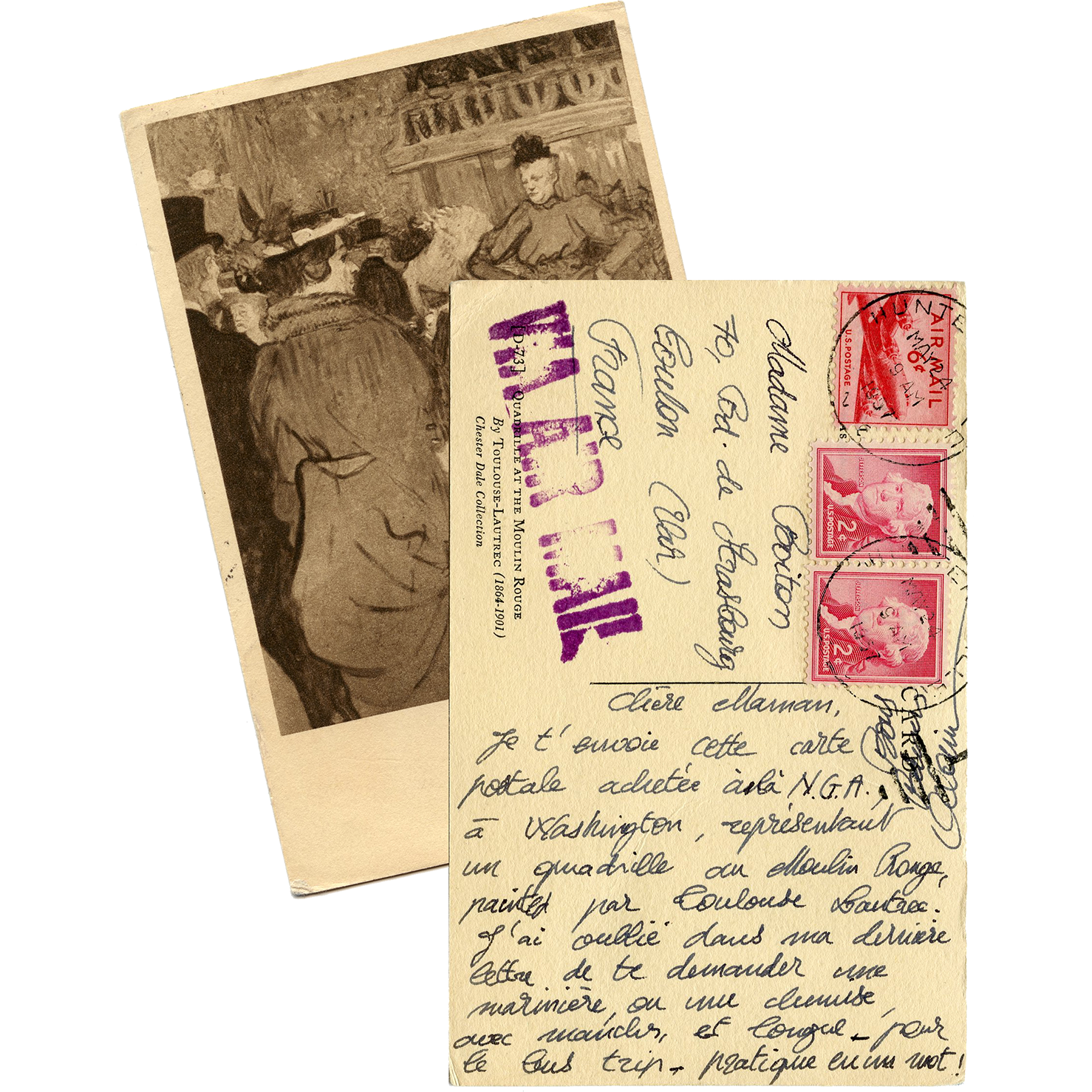 Toulouse-Lautrec Postcard Mailed from US to France in 1957