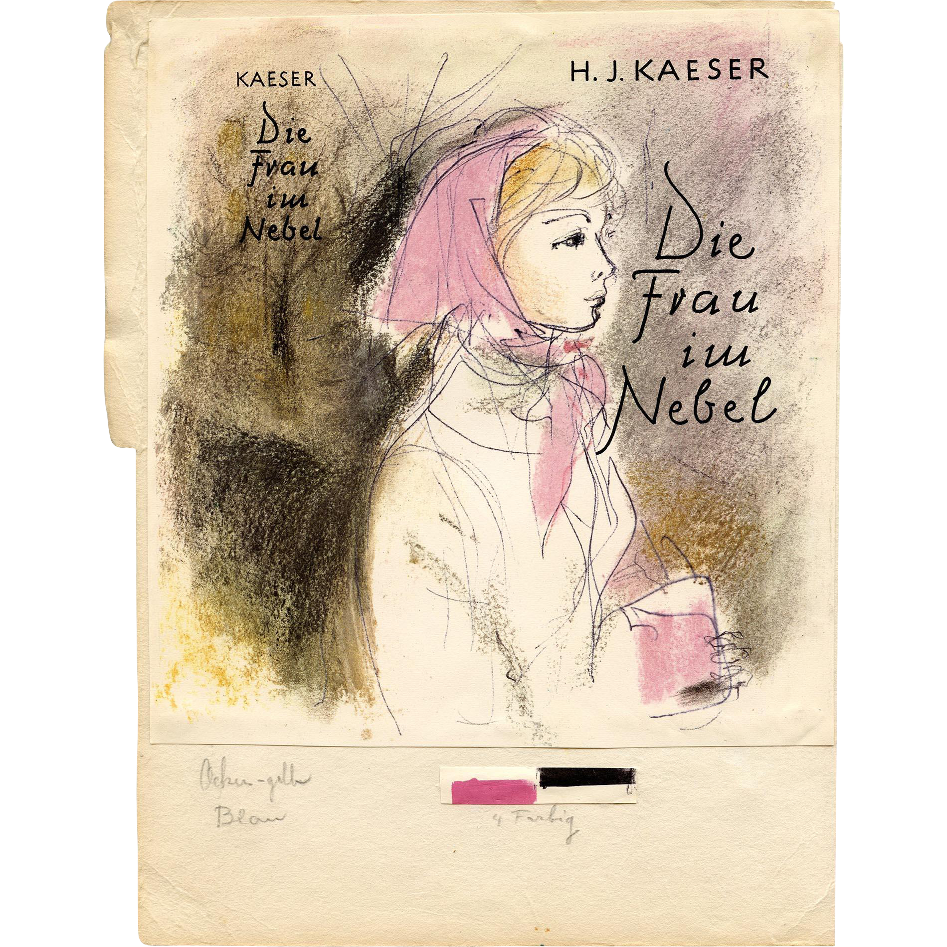 German Jewish Author H.J. Kaeser Printer's Proof of Novel Front Cover Circa 1962