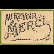 Au Revoir et Merci Antique Art Nouveau French Postcard with Glitter