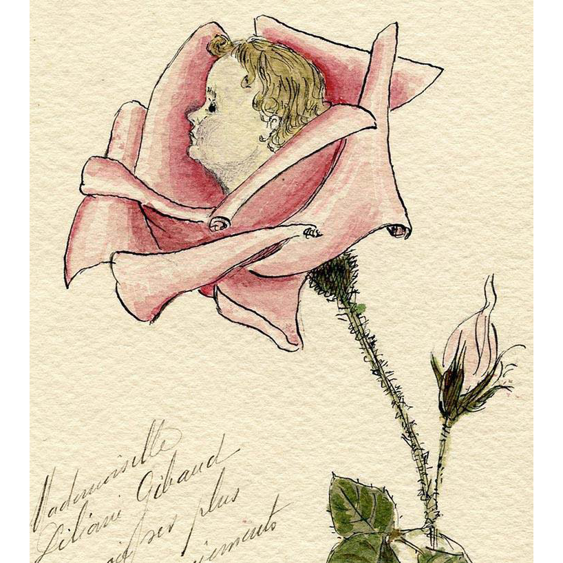 Original Hand-painted Baby in a Rose Antique French Postcard with Tram Ticket Attached Verso