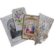 Antique French Holy Cards: Hand-painted Celluloid, Fleur de Lis, Paper Lace, First Communion Souvenir