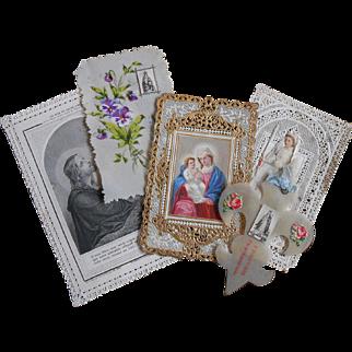 Antique French Holy Cards: Hand-painted Celluloid, Fleur de Lis, Paper Lace, First Communion Souvenir