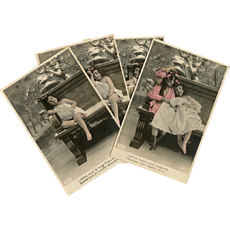 4 Antique French Postcards: Winter Morality Tale of Sharing Real Photos Hand Painted