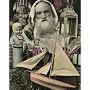 Santa with Lantern Surrounded by Toys Antique French Christmas Postcard