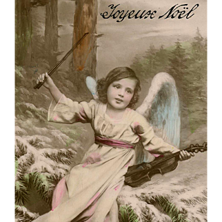French Christmas Montage of Angel Playing Violin in Snowy Forest