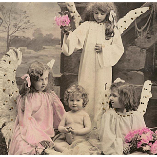 Antique French Christmas Postcard of Three Angels at the Manger