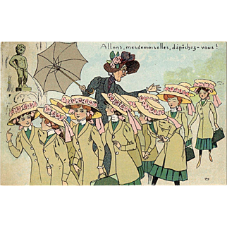 Humorous Illustrated Postcard of Lady Rushing Girls Past Brussels' Famous Manneken Pis