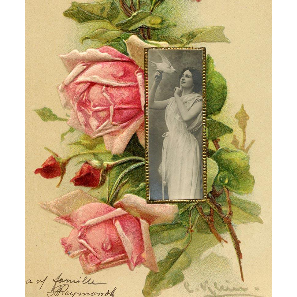 Catherina Klein Roses Collage with Photo Inset 1904 Happy New Year French Postcard