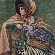 Flower Lady Marchande de Violettes by Henry Tenré  Salon de 1913 Art Postcard