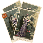 Au Theatre Sexy and Romantic French Series 1910 Hand Painted and Detailed Four Postcards