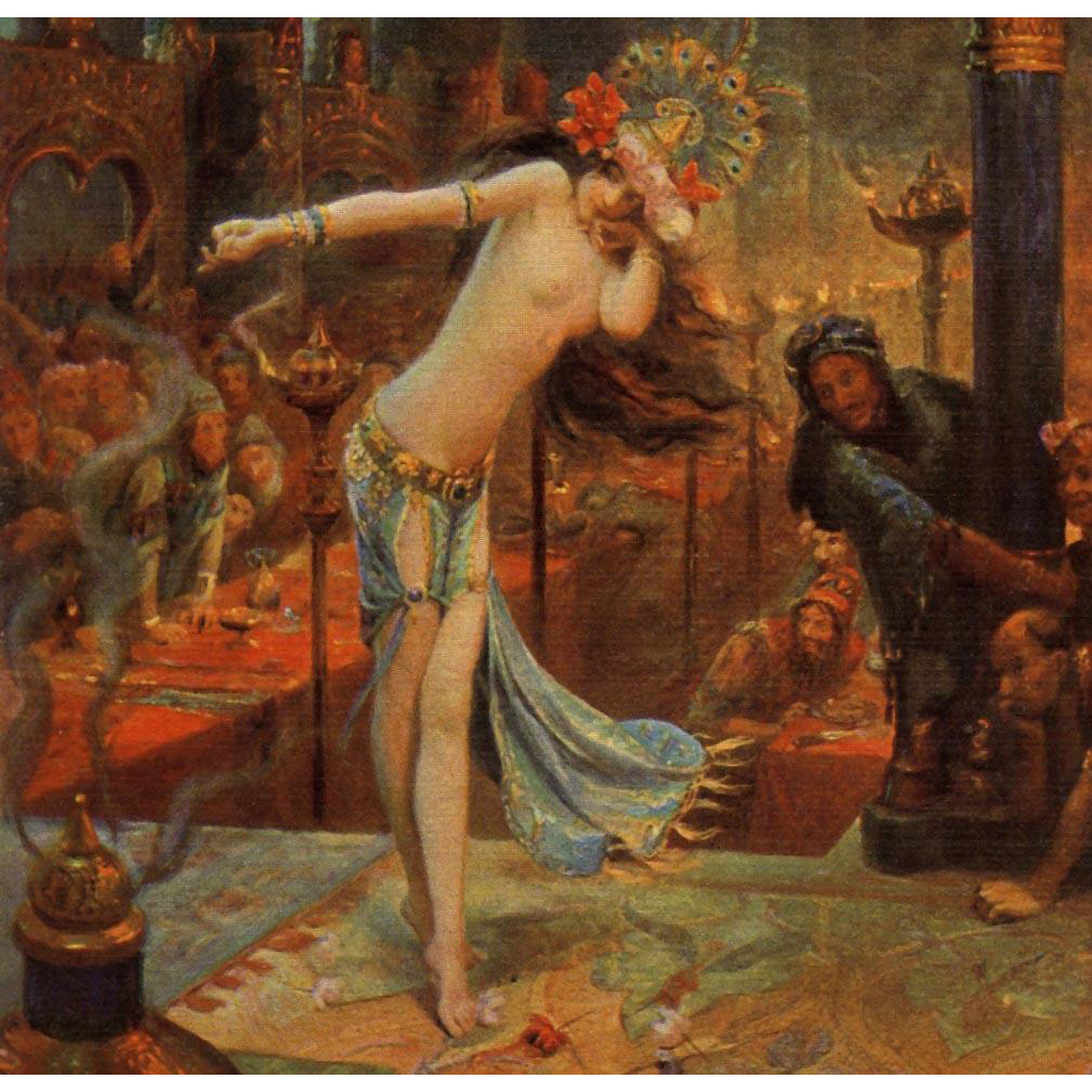 Vibrant Antique French Art Reproduction Postcard of Salome by Gaston Bussière