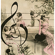 Musical Montage Hand-Painted Antique French Postcard